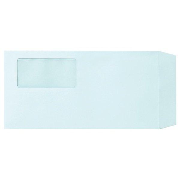 画像1: 業務用窓付封筒ワンタッチテープ付き 長3 ブルー 100枚 (1)