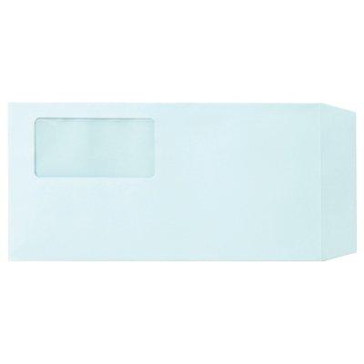 画像1: 業務用窓付封筒ワンタッチテープ付き 長3 ブルー 100枚