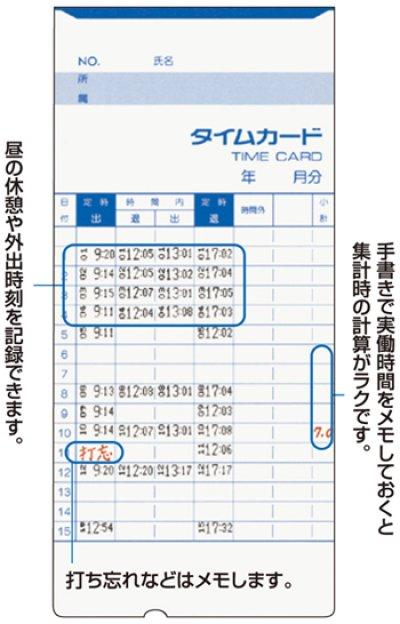 画像1: アマノ(amano)標準タイムカードCカード(25日締or10日締 片面4欄)100枚入りx2セット