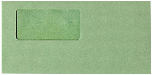 画像1: 333108窓付封筒(グリーン)シールのり付き (1)